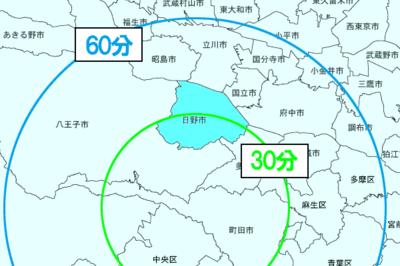 東京都日野市の所要時間マップ