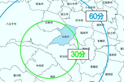 東京都多摩市の所要時間マップ