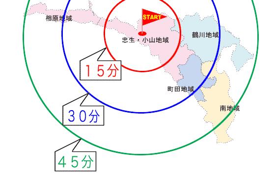 町田市内の所要時間マップ