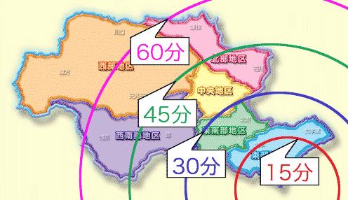 東京都八王子市内の所要時間マップ